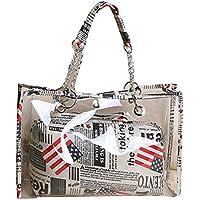 LABANCA Clear Transparent Shoulder Bag Leisure Beach Tote Bag with Interior Pocket The American National Flag