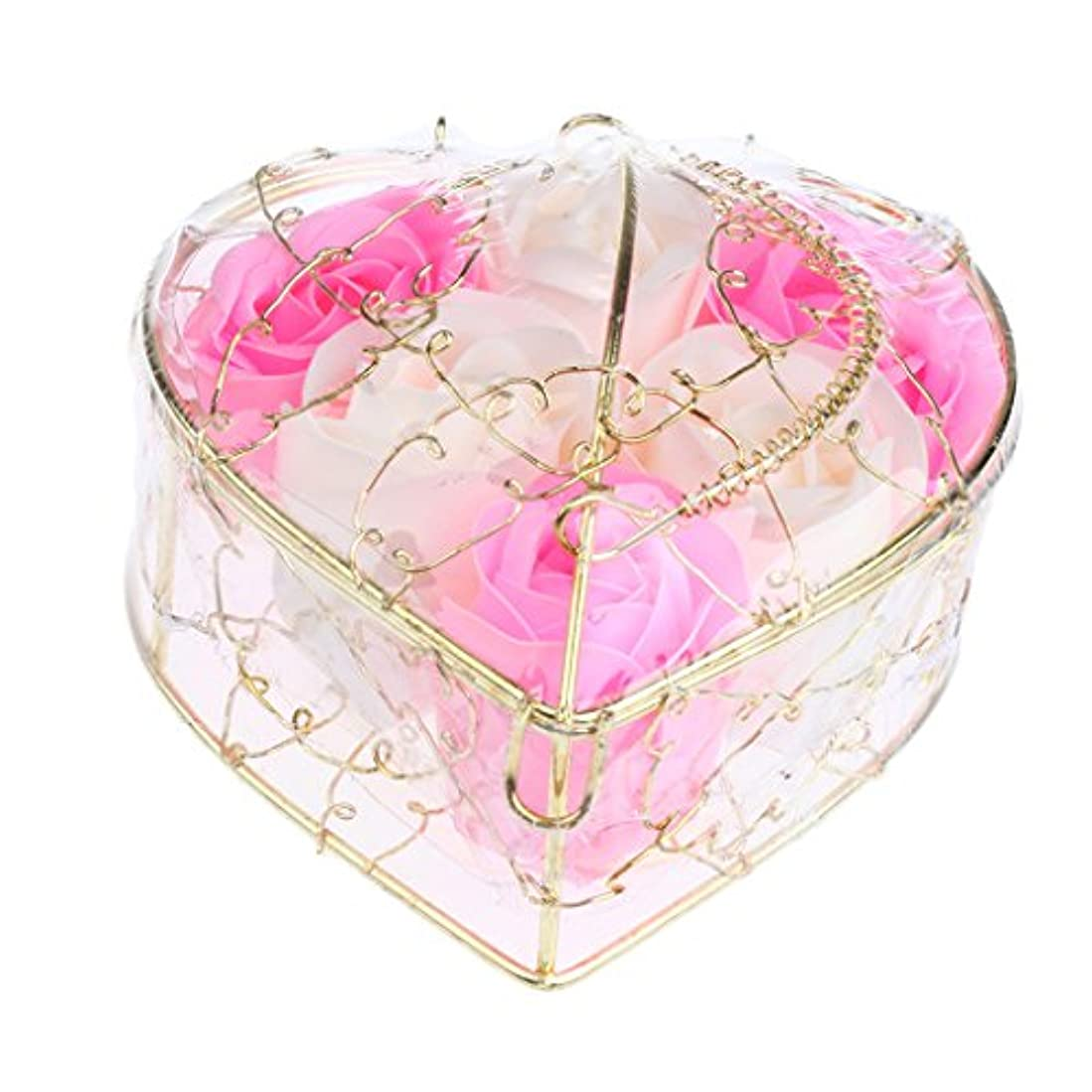 バランスのとれた持続する小川IPOTCH 6個 ソープフラワー 石鹸花 造花 バラ フラワー ギフトボックス 誕生日 母の日 記念日 先生の日 プレゼント 全5仕様選べる - ピンクとホワイト