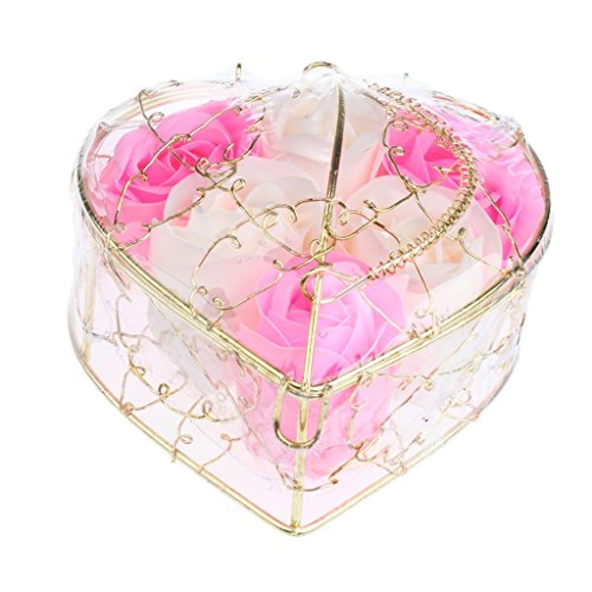 国勢調査ペンフレンド振動させるIPOTCH 6個 ソープフラワー 石鹸花 造花 バラ フラワー ギフトボックス 誕生日 母の日 記念日 先生の日 プレゼント 全5仕様選べる - ピンクとホワイト