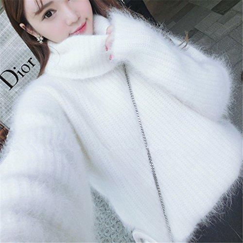 KONGDA シャギー ニット ふわふわ モヘア 編み 切り替え ニット セーター かわいい 長袖 ハイネック ピンク ベージュ (ホワイト)