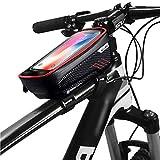 自転車 バッグ フレーム トップチューブバッグ 収納可能 防水 タッチパネル操作可能 サドルバッグ フロントバッグ 多機能 防圧 軽便 取り付け簡単(F1 レッド)