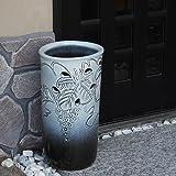 信楽焼 ぶどう透かし彫傘立て しがらき焼 笠立て 陶器 おしゃれ kt-0155