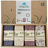 100% USDA Certified Organic Healthy Thai Rice Variety Pack Gift Set - Red Jasmine Rice, Riceberry, Brown Jasmine 900g (2 LB)