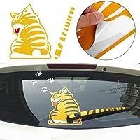 【Rurumi】猫の尻尾が左右に動く おもしろ ステッカー リア ウィンドウ ガラス ワイパー 猫 猫型 尻尾 しっぽ 肉球 カーステッカー シール カー用品 車 デカール ネコ (黄色 ネコ)