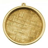 """Nunn Design Antiqued Gold Plated Pewter Bezel Large Round Framed Pendant 1 1/4"""""""