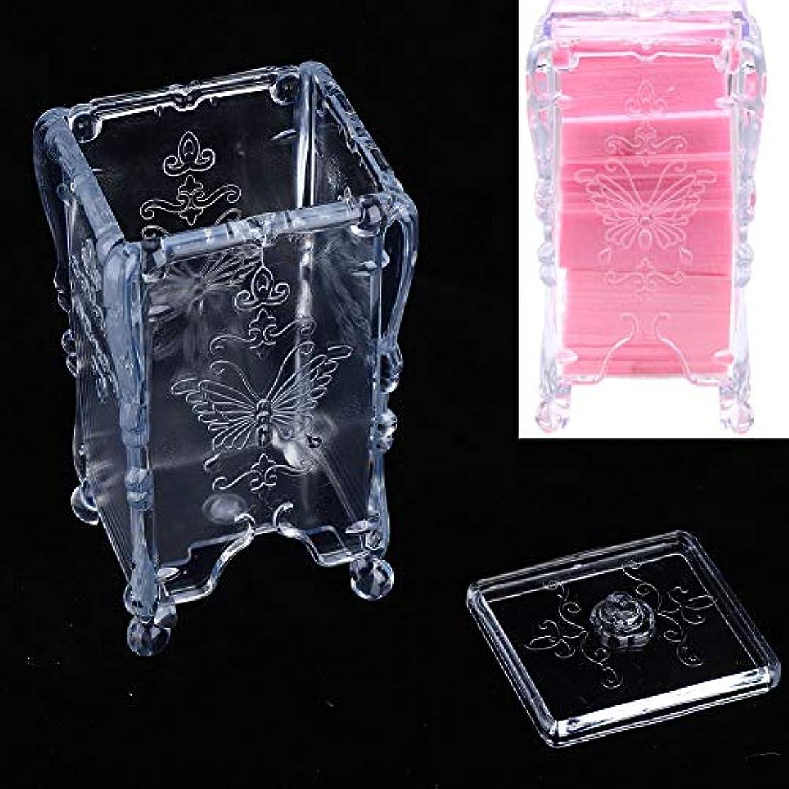 生命体許可する中間化粧綿収納ボックス 枕収納ボックス ネイルスワブリムーバー、化粧品オーガナイザー(透明)