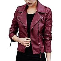 shangke Women's Pu Fau Leather Jacket Slim Tailoring Zipper Jacket Coat
