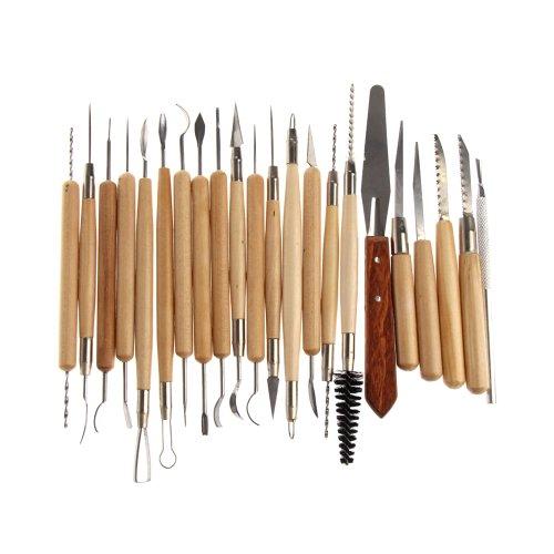Vktech 22PCSステンレススチールと木製クレイハンドル陶芸彫刻ツール