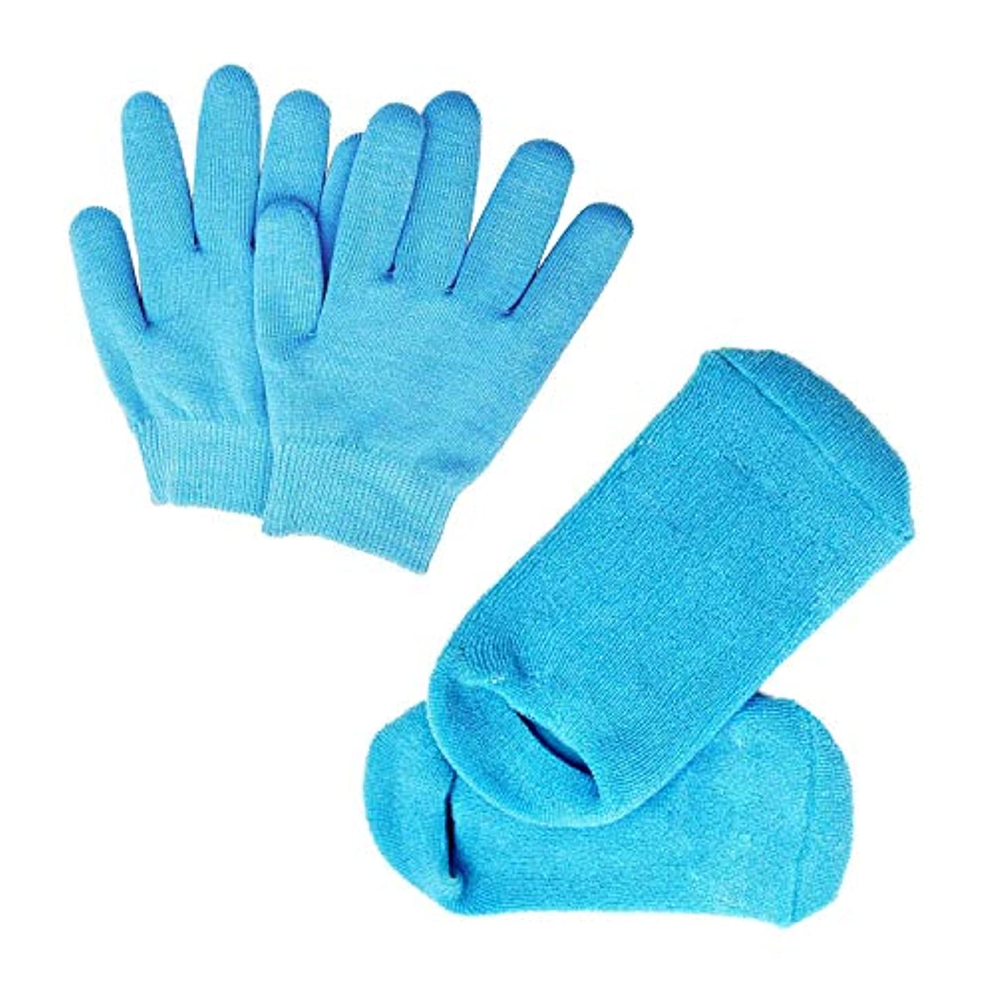 酔った不倫日焼けPinkiou 眠る森のSPAジェルグローブ/SPAジェルソックス ハンドケアグローブ/フットケアソックス 角質取り 保湿 かかとケア オープントゥ 素肌美人 靴下と手袋 一セット スバ いいお肌になりましょう(ブルー)