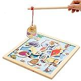 [ドリーマー] 釣り遊び 魚釣り フィッシングゲーム 木製 マグネット 磁石 知育玩具 おもちゃ 釣り竿付き パズル 女の子 男の子 赤ちゃん