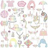 Lindooユニコーン写真ブース小道具 – 40 ct Magicalレインボー誕生日パーティー用品装飾