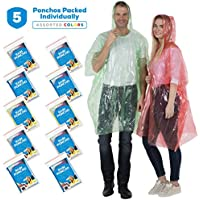 5 Pack Rain Poncho for Adults - Thick Disposable Rain Ponchos Raincoat for Women & Men, One Size Fits All - Emergency Poncho for Theme Parks, Camping, Outdoors - Multi Color