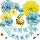 4歳バースデー デコレーションバルーンセット ブルー誕生日 豪華 飾り付け 数字風船 ペーパーファン ガーランド お祝い パーティー