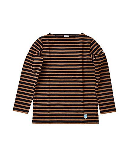 (オーチバル・オーシバル)ORCIVAL コットン100%長袖バスクシャツ 2 Black×Camel b211-2-black-camel