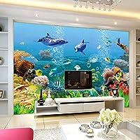 LJJLM 壁の水中世界の子供の寝室のリビングルームの壁紙の家の装飾3Dのための注文の壁画の壁紙-420X280cm