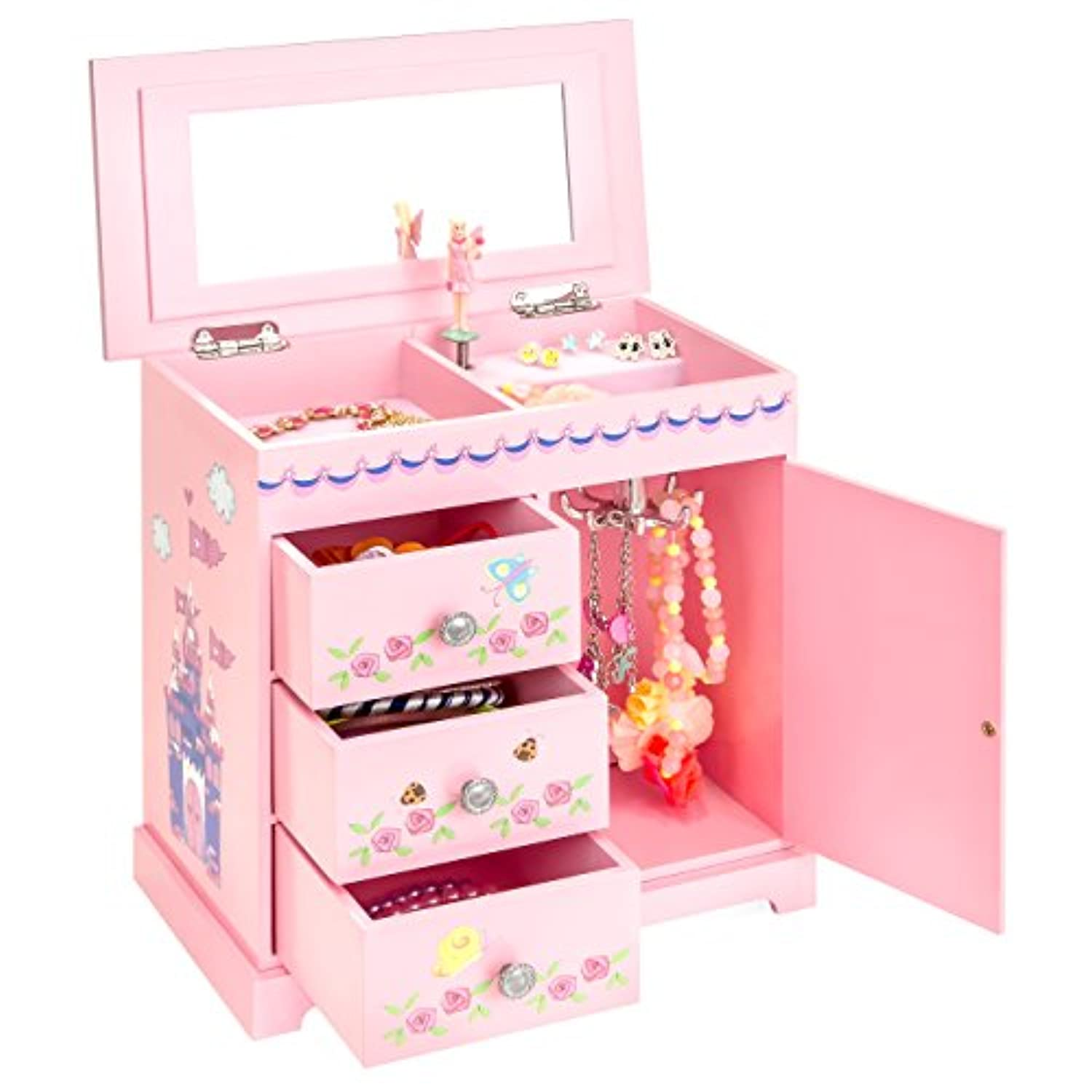 Best Choice Products Wooden Fairy Castle Toy Musical Jewellery Box w/ 3 Pullout Drawers - Pink