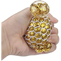 (Gold) - FimKaul Squeeze Mesh Ball Stress LED Glowing Grape Ball Toy Led Anti Stress Ball - Light up Ball - Anti Stress Toys for Kids (Gold)