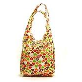 折り畳み式 防水ショッピングバッグ オレンジハート柄 Shopping Bag (6129-8)