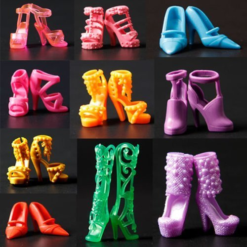 29センチメートルのバービー人形の服のアクセサリー ための 10ペアミックスハイヒールの靴...