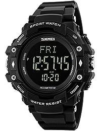 Rockyu ブランド レディース メンズ 腕時計 防水 多機能 スポーツウォッチ 心拍計測 デジタル時計 メンズ