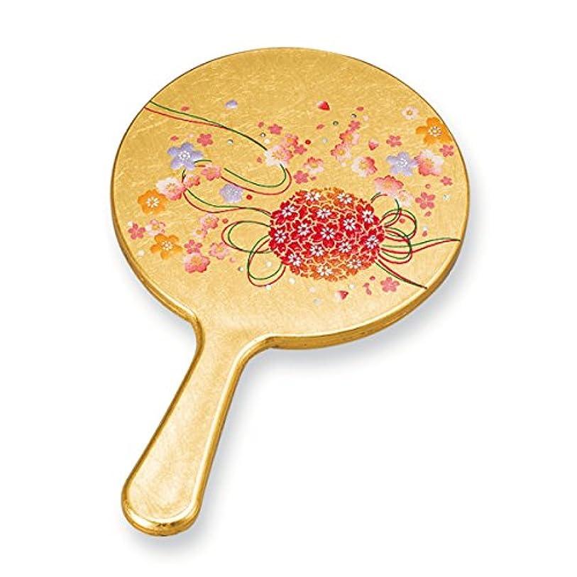 にはまってキャラクターおばさん手鏡 ハンドミラー 和風 和柄 箔工芸 京てまり 姫鏡 M16412