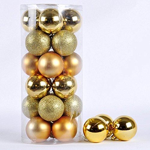 クリスマスボール,SODIAL(R)クリスマス オーナメント ボール 4種アソート 24個入り 北欧 インテリア ツリー 飾り 雑貨 (ゴールド)