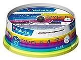 三菱化学メディア Verbatim DVD-R 4.7GB 1回記録用 1-16倍速 スピンドルケース 25枚パック ワイド印刷対応 ホワイトレーベル DHR47JP25V1