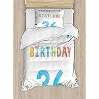 36th誕生日デコレーション布団カバーセットby Ambesonne、Vintage Worn古い印刷Middle Age Happy誕生日パーティーイメージ、装飾寝具セット枕のカバー、マルチカラー TWIN / TWIN XL nev_34198_twin