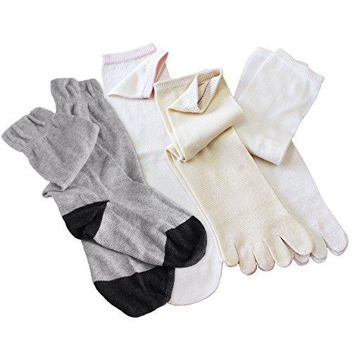 hiorie(ヒオリエ) 日本製 冷えとり靴下 シルク&コットン 5本指ソックス(重ねばき専用 4足セット) 切り替えライトグレー 正絹 綿