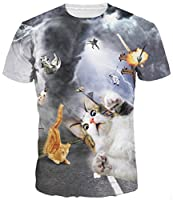 Amade メンズ tシャツ 半袖 3Dプリント 細身 狂風 台風 猫柄 大きいサイズ レディース ファション-JP069-59-S