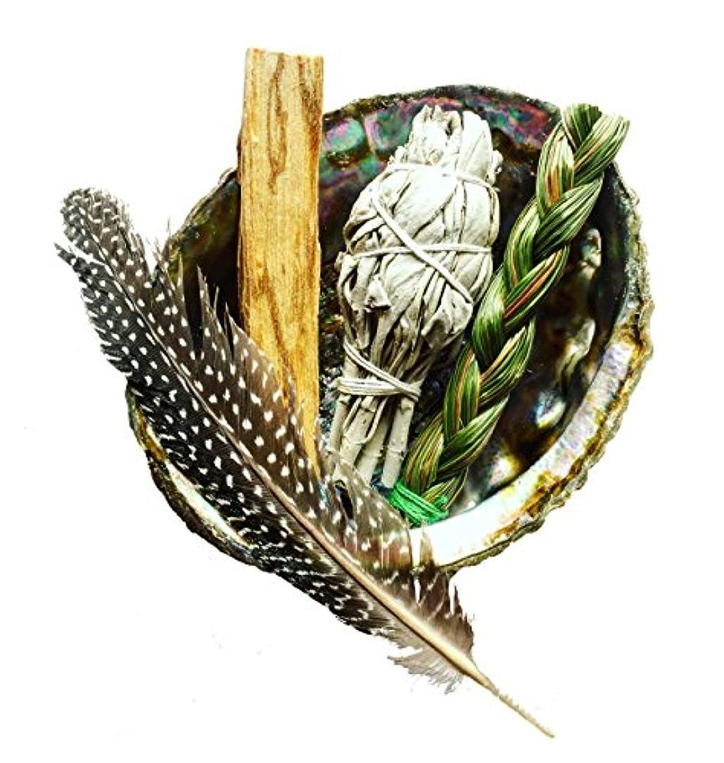 動かないナラーバーフェンスSmudgeキット|ホワイトセージ、Palo Santo、+ Sweetgrass in Abalone Shell