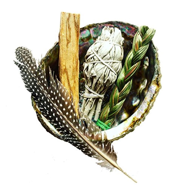 爆風リア王起きてSmudgeキット|ホワイトセージ、Palo Santo、+ Sweetgrass in Abalone Shell