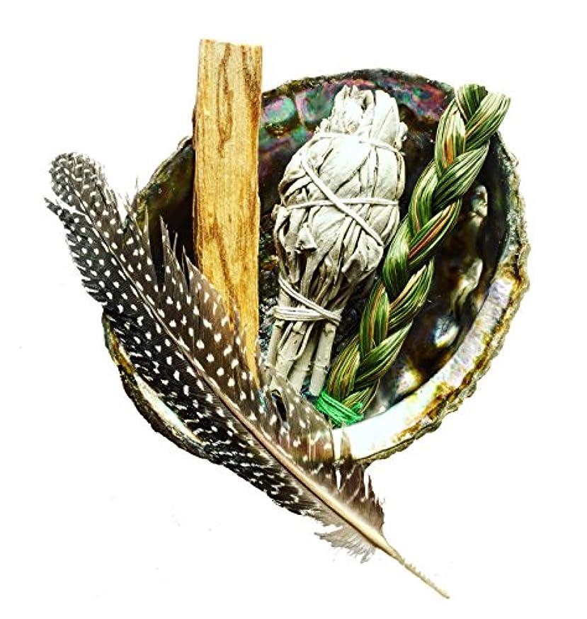 逃すロードブロッキングよく話されるSmudgeキット|ホワイトセージ、Palo Santo、+ Sweetgrass in Abalone Shell