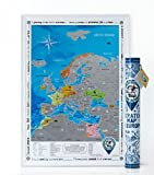 "Scratch off Map ""Discovery Map Europe"" ヨーロッパスクラッチ地図、個人的、ステッカー付き、旅行者のプレゼント(チューブ内のマップ)"