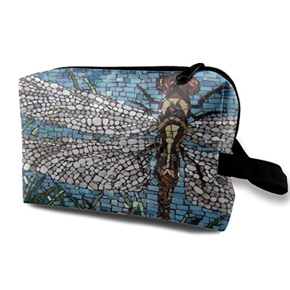 牛祈る添付Stylish Design Dragonfly Art Painting 収納ポーチ 化粧ポーチ 大容量 軽量 耐久性 ハンドル付持ち運び便利。入れ 自宅?出張?旅行?アウトドア撮影などに対応。メンズ レディース トラベルグッズ