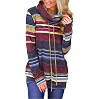 Neal LINK Women Cowl Neck Striped Long Sleeve Drawstring Pullover Top Sweatshirt Pockets