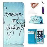 Apple iPhone 5 5S シェル, LoveBee [ ポータブル 財布 ] [ スリム 合う ] 重い 義務 保護 携帯電話ケース フリップ カバー 財布 シェル の Apple iPhone 5 5S -Forever and Always