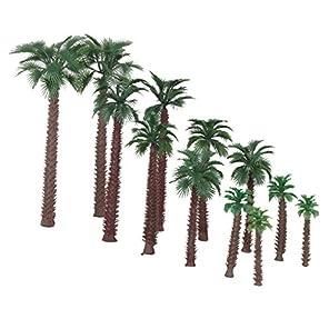 ノーブランド品 1/50サイズ 鉄道模型 箱庭用 ストラクチャー 鉄道 風景 プラスチック製 椰子の木 6‐20cm 6サイズミックス 12本
