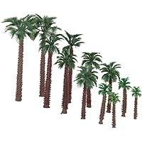 【ノーブランド品】1/50サイズ 鉄道模型 箱庭用 ストラクチャー 鉄道 風景 プラスチック製 椰子の木 6‐20cm 6サイズミックス 12本