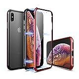 【YMXPY】 iPhone Xs Max ケース 前後両面ガラス付き アルミバンパーカバー 【360° フルボディ全面保護】【16ヶ所マグネット式メタルフレーム】【ワイヤレスチャージ対応】 (iphoneXsMax, 赤×黒・表面ガラス付き)
