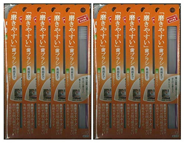 単に減少識別する歯ブラシ職人 田辺重吉考案 磨きやすい歯ブラシ ふつう (奥歯まで)先細 LT-12 1本入×24本セット