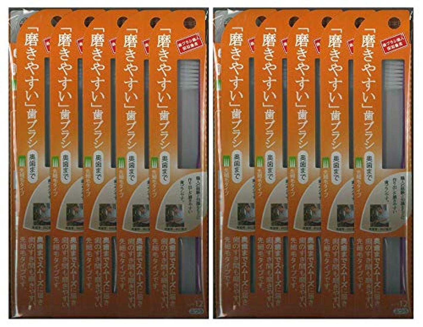 先住民発行する多分歯ブラシ職人 田辺重吉考案 磨きやすい歯ブラシ ふつう (奥歯まで)先細 LT-12 1本入×24本セット