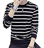 (アーカーワークス) ボーダー柄 長袖 Tシャツ カットソー お洒落 トップス ロンT シンプル デザイン 素材 男女兼用 (15.ブラックXL(ファイン))