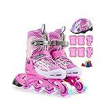 キッズ 男の子 サイズ調整可能 発光 屋外インラインスケート,大人男の子女の子 贈り物ローラースケート,初心者屋内子ども ジュニア用ポータブル向け Inline Skate (Color : Pink, Size : S-EU(30-33))