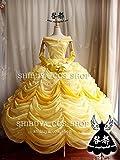 高品質コスプレ美女と野獣 ベル風衣装 黄色ドレス オーダーサイズ可能 クリスマス、ハロウィン イベント仮装  コスチューム