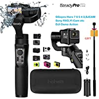 Hohem iSteady Pro 2 ジンバルスタビライザー アクションカメラ Gopro Hero 7/6/5/4/3+/3、Sony RX0、Yi Cam 4K、AEE、SJCAM、DJI OSMOアクション、スプラッシュ防水、延長ロッドと三脚付き