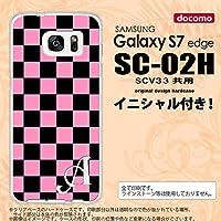 SC02H スマホケース Galaxy S7 edge ケース ギャラクシー S7 エッジ イニシャル スクエア 黒×ピンク nk-sc02h-762ini Z