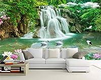 Mbwlkj パーソナライズされたファッションの壁紙防水三次元風景の滝の魅惑的な背景-350cmx245cm