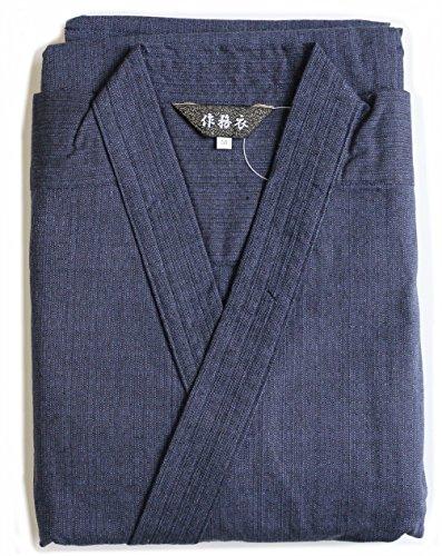 (エルゴ)Ergo4カラーメンズ作務衣綿100%つむぎギフトに(L,濃紺)