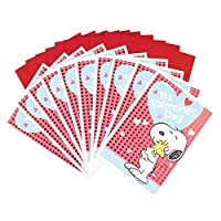 Hallmark Valentine's Day Greeting Card Assortment (10 Cards and 10 Envelopes Peanuts Snoopy and Woodstock) [並行輸入品]